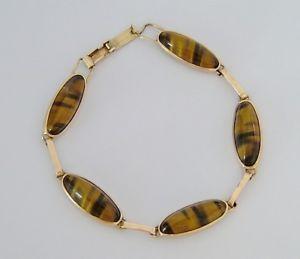 【送料無料】ブレスレット アクセサリ― ビンテージゴールドタイガーアイブレスレットgbeautiful vintage 9ct gold tigers eye bracelet 14g