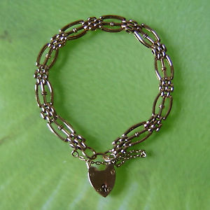 【送料無料】ブレスレット アクセサリ― ローズゴールドバーゲートブレスレット9ct rose gold hallmarked three bar gate bracelet weighs 87g