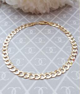 【送料無料】ブレスレット アクセサリ― ソリッドイエローゴールドブレスレットmens fine solid 9ct yellow gold 4mm curb bracelet 85
