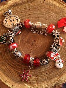【送料無料】ブレスレット ブレスレットペンダントカフムラーノクリスマスbraccialetto ciondoli charms bracciale bijoux murano strass christmas natale