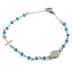 【送料無料】ブレスレット ブレスレットスチールbracciale rosario postine colorate celesti in acciaio bcc1670