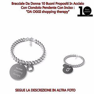 【送料無料】ブレスレット カフスチールショッピングbracciale donna acciaio 10 buoni propositi da oggi shopping therapy annabiblo