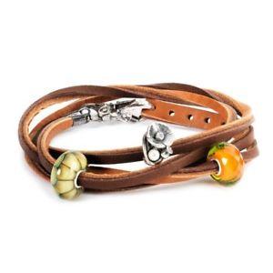 【送料無料】ブレスレット ファッションブレスレットブラウンダークライトミスmoda trollbeads bracciale in cuoio, marrone scurochiaro mis 36cm tlebr00034