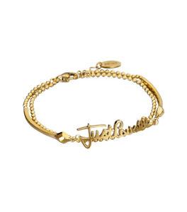 【送料無料】ブレスレット カフダブルゴールドブレスレットロゴbracciale donna just cavalli jcbr00080200 oro doppio bracciale con logo