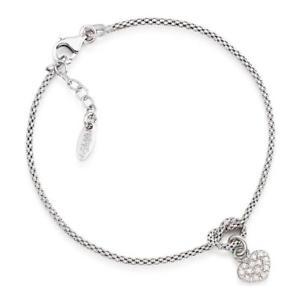 【送料無料】ブレスレット シルバーカフアーメンジルコンbracciale donna amen bcoh abbracci in argento 925 con cuore zirconato