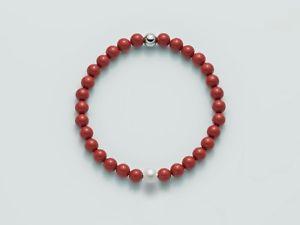 【送料無料】ブレスレット レッドコーラルシルバーbracciale elastico donna miluna terra e mare perla corallo rosso argento pbr2672
