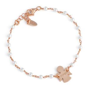 【送料無料】ブレスレット カフアーメンアンジェロシルバーピンクホワイトパールbracciale donna amen brrb con angelo in argento 925 rosato e perle bianche