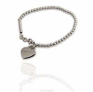 【送料無料】ブレスレット カフスチールステンレスペンダントbracciale donna acciaio anallergico inossidabile pendente cuore liscio nalbori