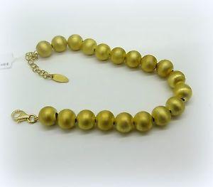 【送料無料】ブレスレット シルバーサテンボールカフbracciale donna in argento 925 placcato oro giallo palline satinate da 8 mm