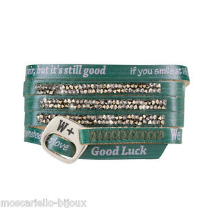 【送料無料】ブレスレット カフムーンライトbracciale donna we positive moonlight verde speranza in pelle con strass