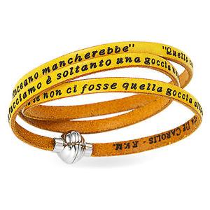 【送料無料】ブレスレット カフアーメンカルカッタマザーテレサイタリアbracciale amen frase madre teresa di calcutta italiano gialla