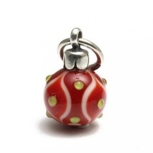 【送料無料】ブレスレット シルバーガラスクリスマスボールペンダントtrollbeads ciondolo in argento e vetro pallina natale rossa tagbe00041 n30