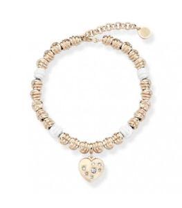 【送料無料】ブレスレット カフノードルクスホワイトブラスローズゴールドハートops bracciale nodi lux bianco ottone rose gold cuore con cristalli opsbr473 or