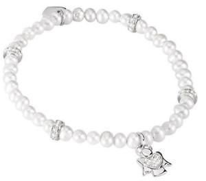 【送料無料】ブレスレット カフシルバーブレスレットエンジェルmabina bracciale argento 925 perle elastico cristalli bracciali charm angelo com