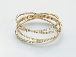 【送料無料】ブレスレット ホワイトカフbracciale kiara da donna rigido in ottone dorato e strass bianchi ref kbrd1449g
