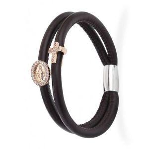 【送料無料】ブレスレット アーメンクロスマドンナブレスレットbracciale in pelle nero amen crmi05r charm croce e madonna zirconati rosato