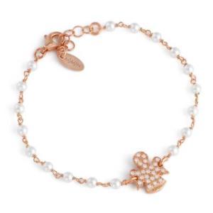 【送料無料】ブレスレット シルバーカフアーメンアンジェロジルコンbracciale perle donna amen in argento 925 rosato con angelo zirconato brrbz