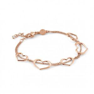 【送料無料】ブレスレット カフシルバーピンクbracciale donna argento rosa cuore con zirconi unica nomination 146402002