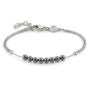 【送料無料】ブレスレット カフシルバーbracciale donna argento con zirconi e perle nere bella nomination 146603014