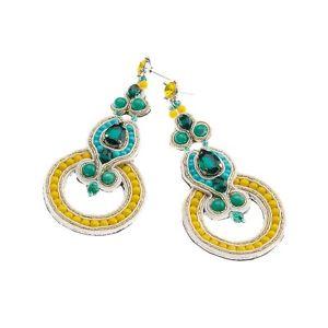 【送料無料】ブレスレット イヤリングペンダントビーズorecchini pendenti ottaviani bijoux con perline e cristalli ref 49455