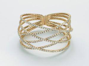 【送料無料】ブレスレット ホワイトカフbracciale kiara da donna rigido in ottone dorato e strass bianchi ref kbrd1450g