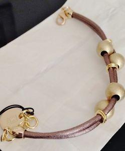 【送料無料】ブレスレット カフブレスレットスキンエトルリアゴールドビンテージbracciale braccialetto donna unoaerre 1ar pelle e pl oro etrusco etnico vintage