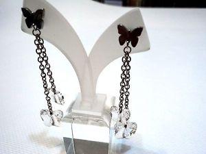 【送料無料】ブレスレット スワロフスキースチールイヤリングorecchini nomination in acciaio con quattro elementi swarovski farfalle