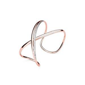 【送料無料】ブレスレット カフリボンブロンズピンクゴールドスレーブbracciale brosway ribbon bbn12 bronzo donna oro rosa pav zirconi schiava 70mm