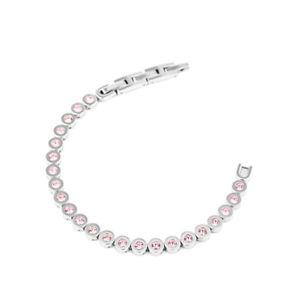 【送料無料】ブレスレット カフスチールサリウチョラグジュアリーbracciale donna acciaio zirconi rosa liu jo luxury lj1126