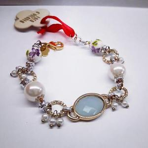 【送料無料】ブレスレット カフゴールデンクォーツセラミックホワイトチェーンエンカントle carose bracciale quarzi dorato bianco ceramica catena perle toco dencanto