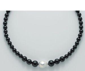 【送料無料】ブレスレット ネックレスシルバーコリアーバロックパールcollana donna miluna pcl4660v argento perle nera nero collier perla barocca