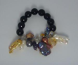 【送料無料】ブレスレット カフオニキスチェーンシルバーbracciale donna onice nero e perle di varie forme su catena argento