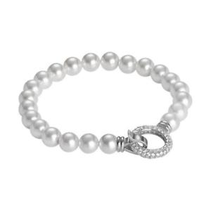 【送料無料】ブレスレット シルバースワロフスキービーズカフbracciale boccadamo in argento 925 perle swarovski bianche e zirconi refbr468xl