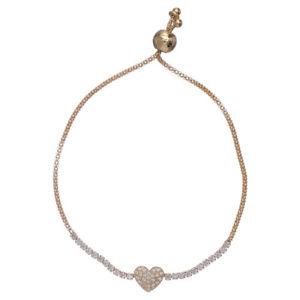 【送料無料】ブレスレット カフゴールデンアーメンハートホワイトbracciale arg 925 dorato amen cuore zirconi bianchi