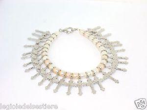【送料無料】ブレスレット シルバーブレスレットbracciale di perle con croci in argento 925 charms