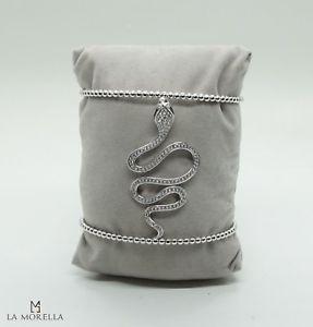 【送料無料】ブレスレット シルバーブレスレットbracciale in argento e zirconi a forma di serpente
