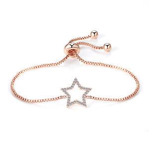 【送料無料】ブレスレット ローズゴールドブレスレットスワロフスキークリスタルrose gold star braccialetto dellamicizia con cristalli di swarovski