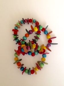 【送料無料】ブレスレット トリスブレスレットビーズtris bracciali in perline di legno colorate