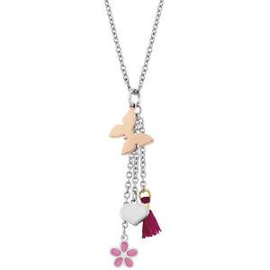 【送料無料】ブレスレット ネックレスペンダントピンクバタフライスチールcollana donna acciaio con pendenti farfalla rosa adorable nomination 024458035