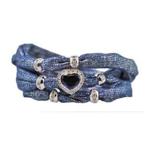 【送料無料】ブレスレット カフアウグスタデブラッククリスbracciale foulard augusta de carolis lian004 3 giri colore nero con charm e cris