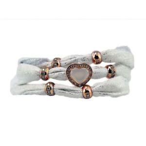 【送料無料】ブレスレット カフアウグスタデbracciale foulard augusta de carolis lian002 3 giri colore bianco con charm e cr