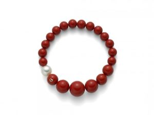 【送料無料】ブレスレット カフコーラルレッドゴールドパールパルプbracciale miluna terra e mare pbr1802 oro perle rosso pasta di corallo red
