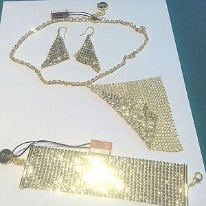 【送料無料】ブレスレット ブロンズネックレスブレスレットイヤリングメッキゴールドunoaerre collana bracciale orecchini da donna bronzo placcato oro sconto parure