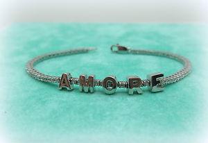 【送料無料】ブレスレット bracciale donna tennis amore in argento 925 e zirconi bianchi