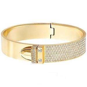 【送料無料】ブレスレット カフスワロフスキーゴールドカラーbracciale donna swarovski, rigido color oro con cristalli bianchi 5202247