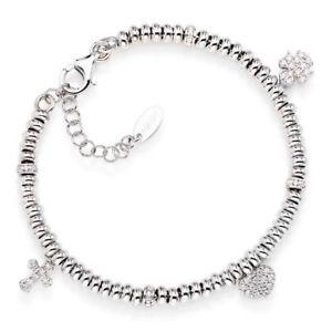 【送料無料】ブレスレット カフアーメンシルバーペンダントbracciale donna amen po3mb in argento 925 con ciondoli pendenti zirconati
