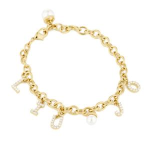 【送料無料】ブレスレット カフパールリュジョゴールドbracciale donna ottone gold con zirconi e perla liu jo luxury lj1059