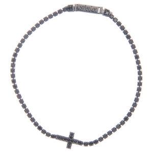 【送料無料】ブレスレット カフアーメンクロスbracciale amen croce e zirconi nero argento