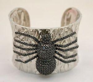 【送料無料】ブレスレット メタルブレスレットbracciale rigido bysimon con ragno in cristalli neri