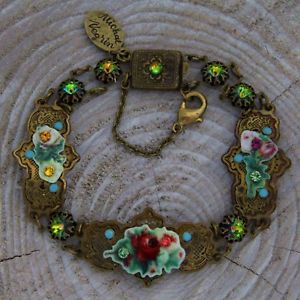 【送料無料】ブレスレット カフスワロフスキークリスタルbracciale floreale michal negrin cristalli swarovski bijoux donna nuovo